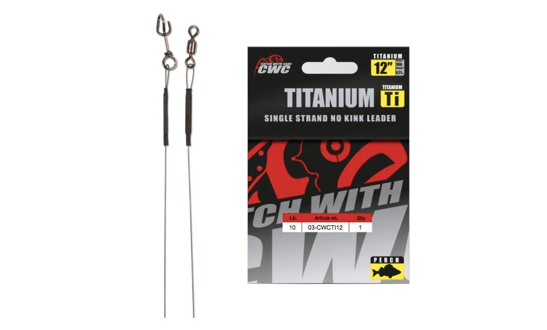 "Picture of CWC Titanium No-Kink Leader 12"" (30cm)-10lbs / 4,5kg Perch"