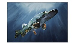 "Picture of WORK OF ART - Original Painting by Tomas Hammar ""Pike before the Bite"" 100x150cm"