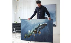 """Picture of WORK OF ART - Original Painting by Tomas Hammar """"Pike before the Bite"""" 100x150cm"""